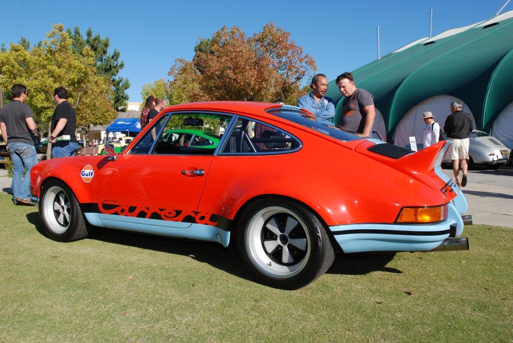 Gulf orange and blue Porsche 911 Carrera RS_3/4 rear view_all Porsche swap & car display_3/4/12