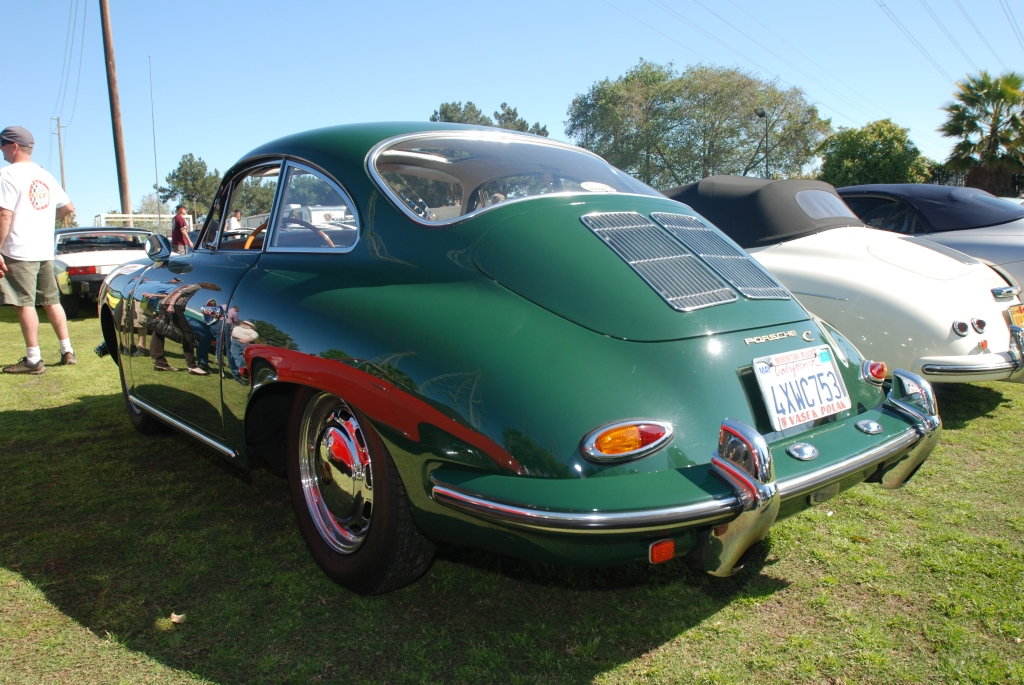 Green 1964 Porsche 356C coupe_side reflections _all Porsche swap & car display_3/4/12