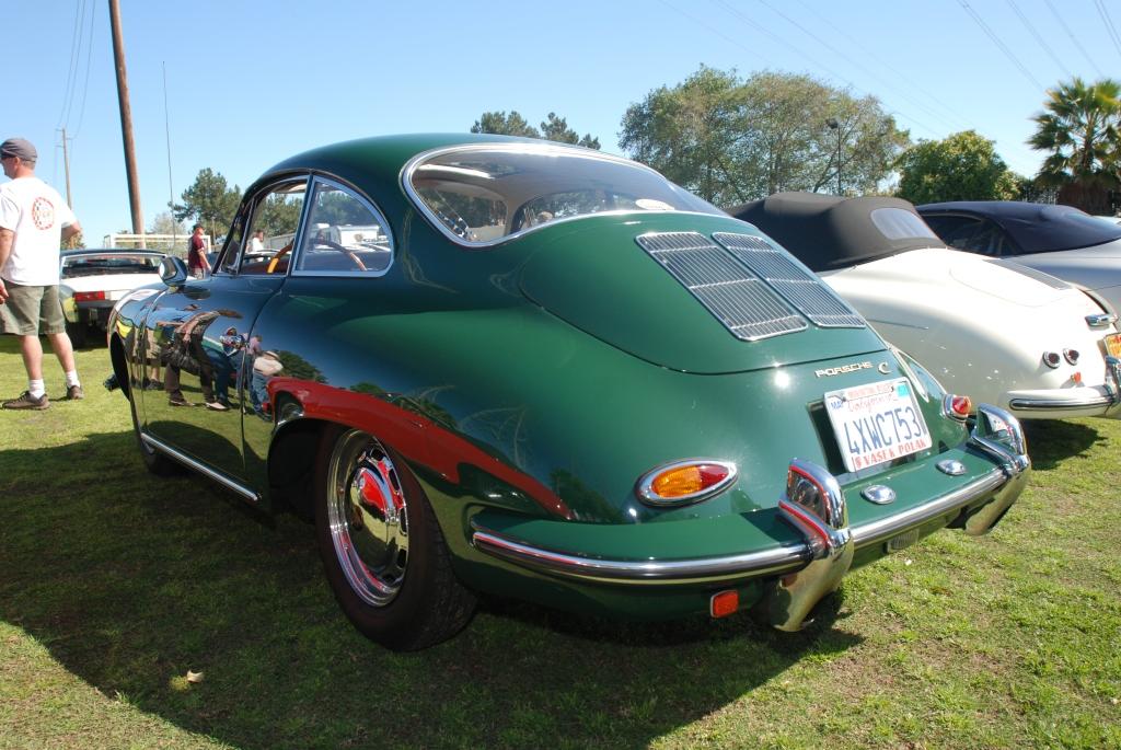 Green 1964 Porsche 356C coupe_side reflections _all Porsche swap & car display_3/4/12