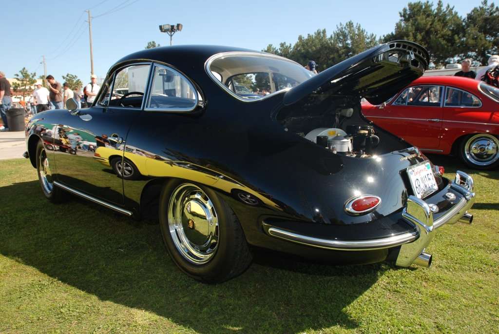 Black Porsche 356C coupe_side reflections _all Porsche swap & car display_3/4/12