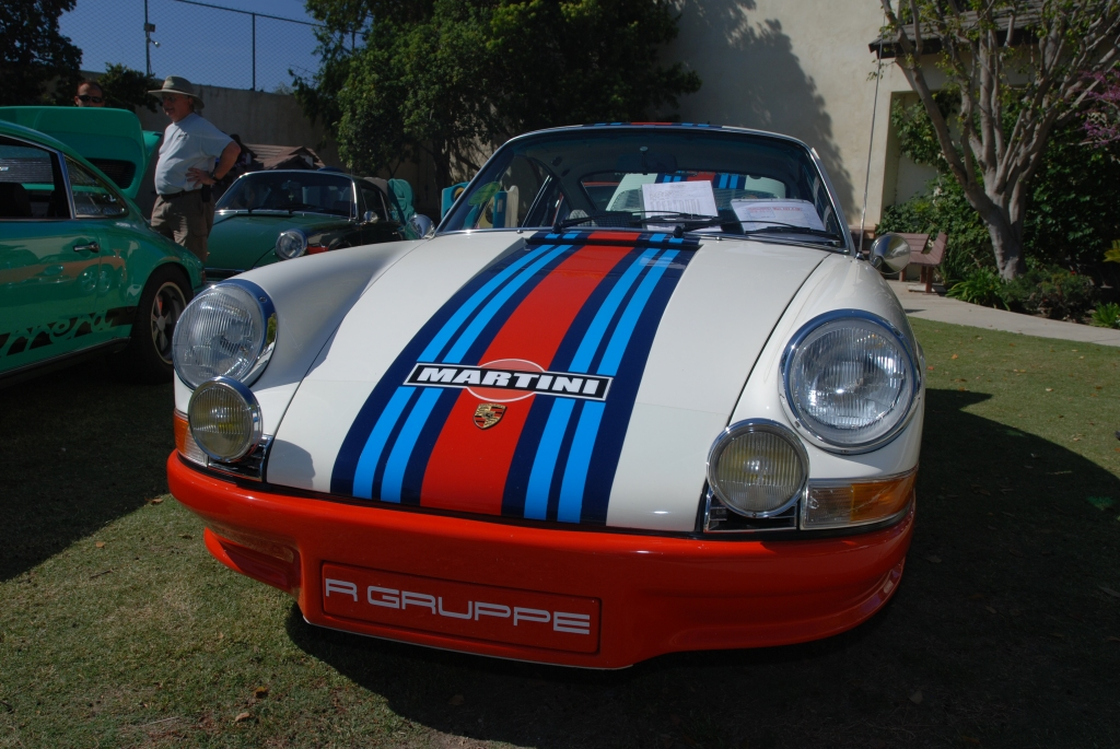 White 1970 Porsche 911 T with Martini Stripes_front view_all Porsche swap & car display_3/4/12