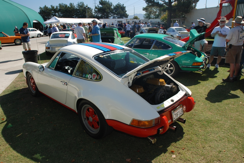 White 1970 Porsche 911 T with Martini Stripes_and green 1973 911 Carrera RS_all Porsche swap & car display_3/4/12