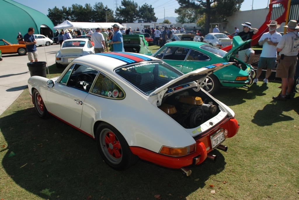 White 1970 Porsche 911 T with Martini Stripes_and green 1973 911 Carrera RS_all Porsche swap & car display_3/4/12