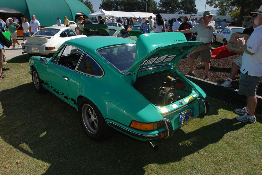 Green 1973 911 Carrera RS_rear view_all Porsche swap & car display_3/4/12