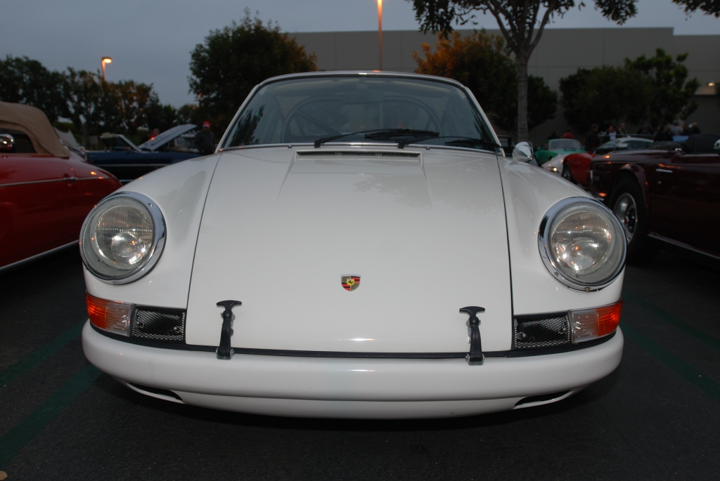 White, modified 1970's vintage Porsche 911 w/flared fenders_front view_Cars&Coffee/Irvine_3/31/12
