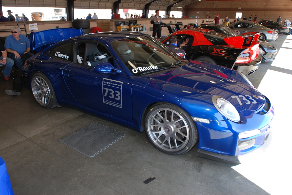 Blue 2011 Porsche GT3_3/4 front view_Festival of Speed_Auto Club Speedway_April 21, 2012