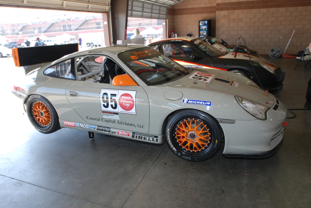 Khaki colored, Porsche GT3 Cup car_Festival of Speed_Auto Club Speedway_April 21, 2012