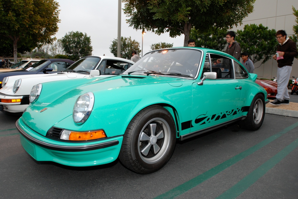 1973 green Porsche 911 Carrera RS #280_3/4 front view_Cars&Coffee/Irvine_3/31/12