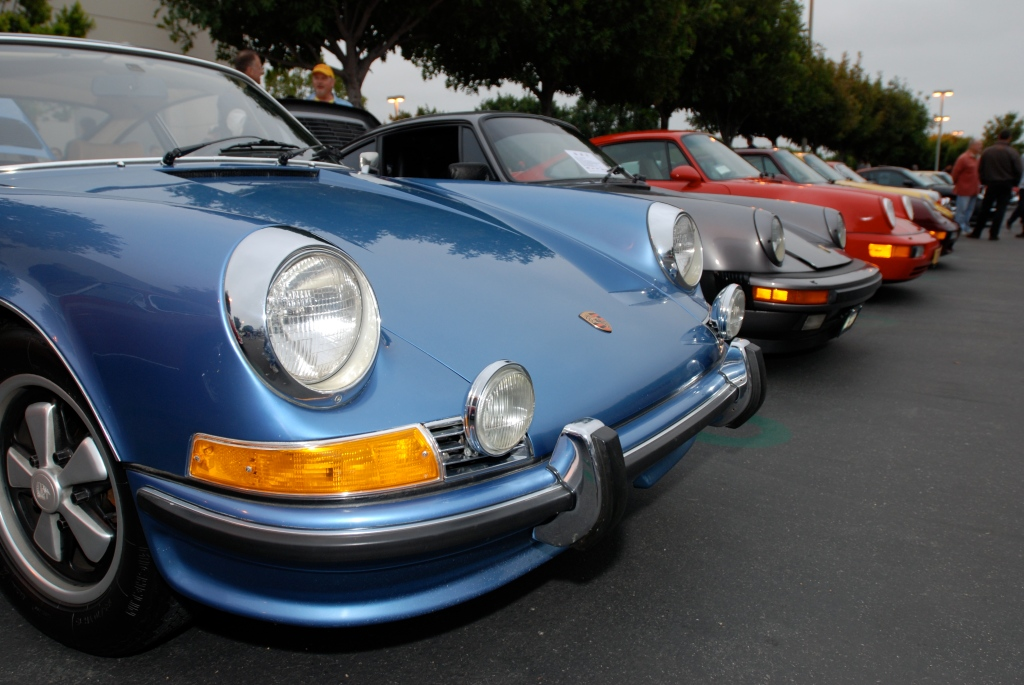 Blue 1972 Porsche 911 and friends_Porsche Row_Cars&Coffee_3/31/12
