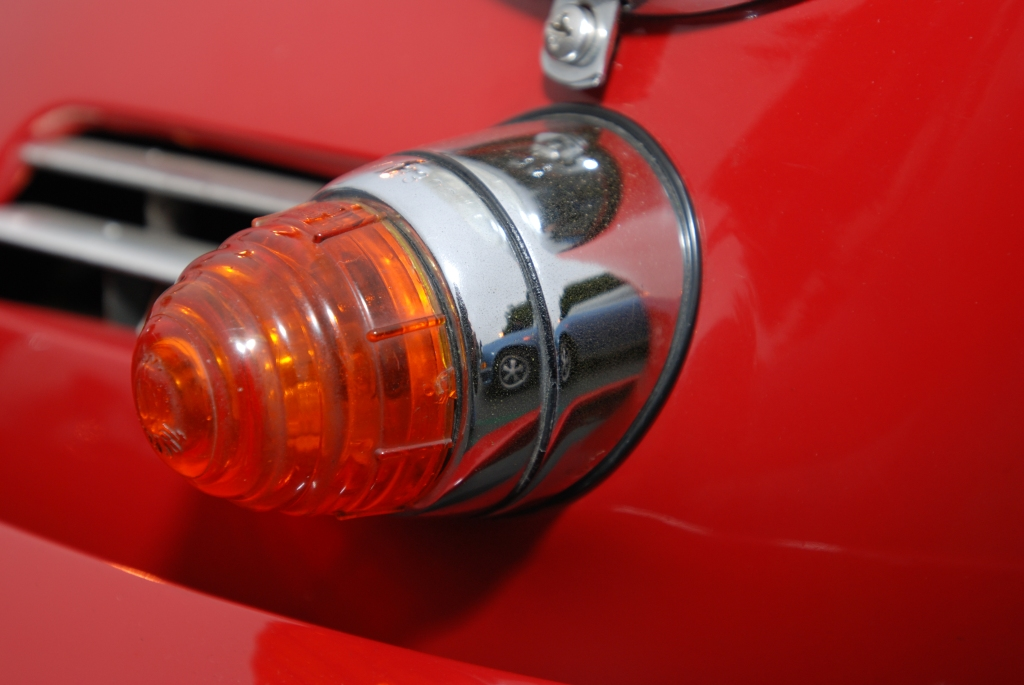 Red Porsche 356_ turn signal lens& housing_reflections_Cars&Coffee/Irvine_3/31/12