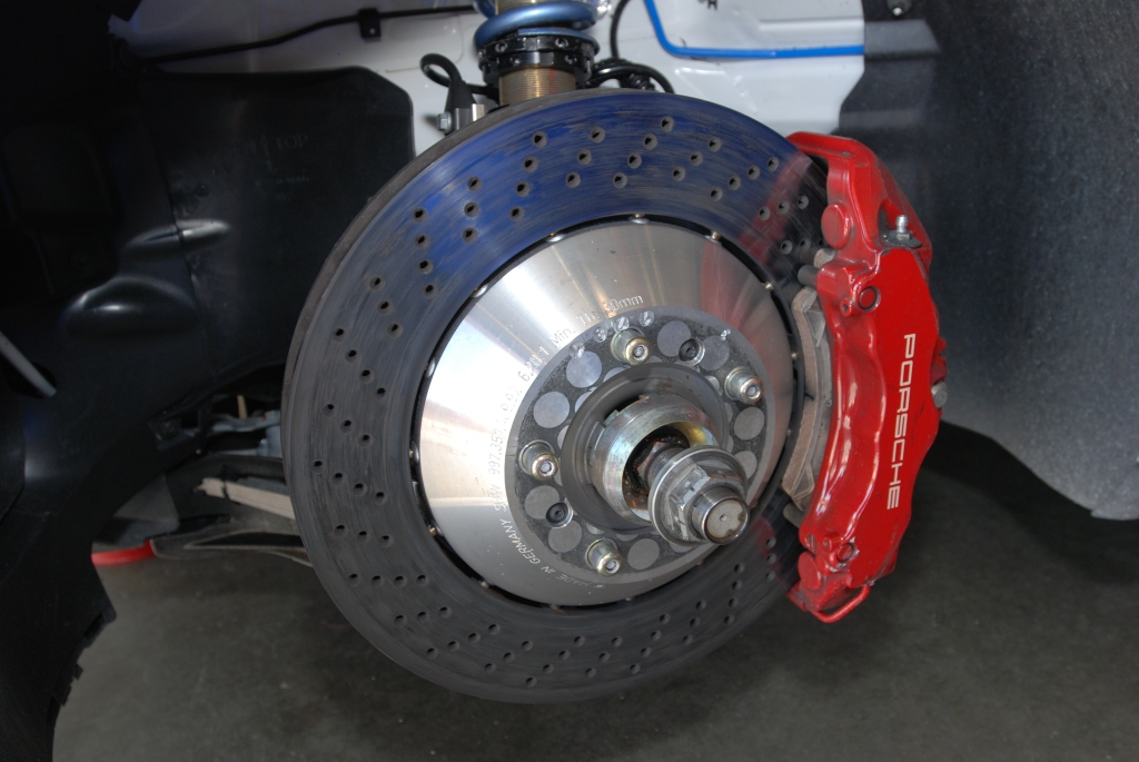 Discountechnology Porsche GT3 cup car_centerlock wheel hub and brake caliper__Festival of Speed_Auto Club Speedway_April 21, 2012