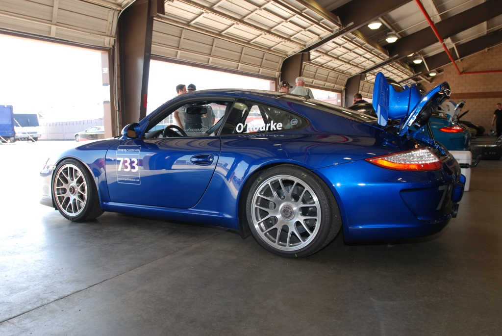 Blue 2011 Porsche GT3_3/4 rear view_Festival of Speed_Auto Club Speedway_April 21, 2012