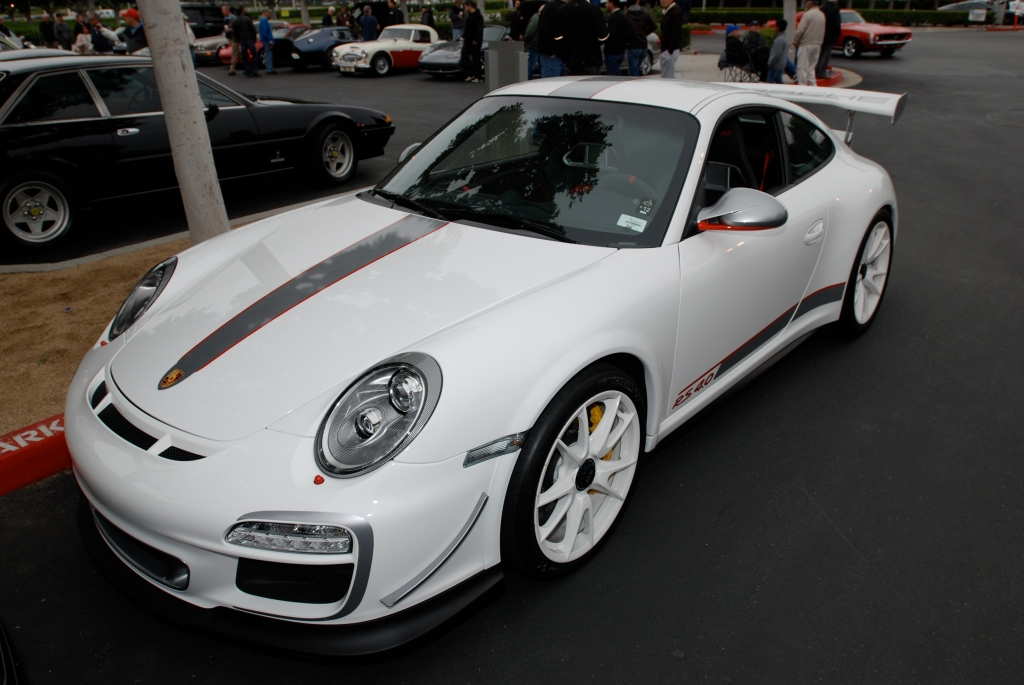 2011 white Porsche GT3 RS4.0_series # 222_3/4 front view_Cars&Coffee/Irvine_3/31/12