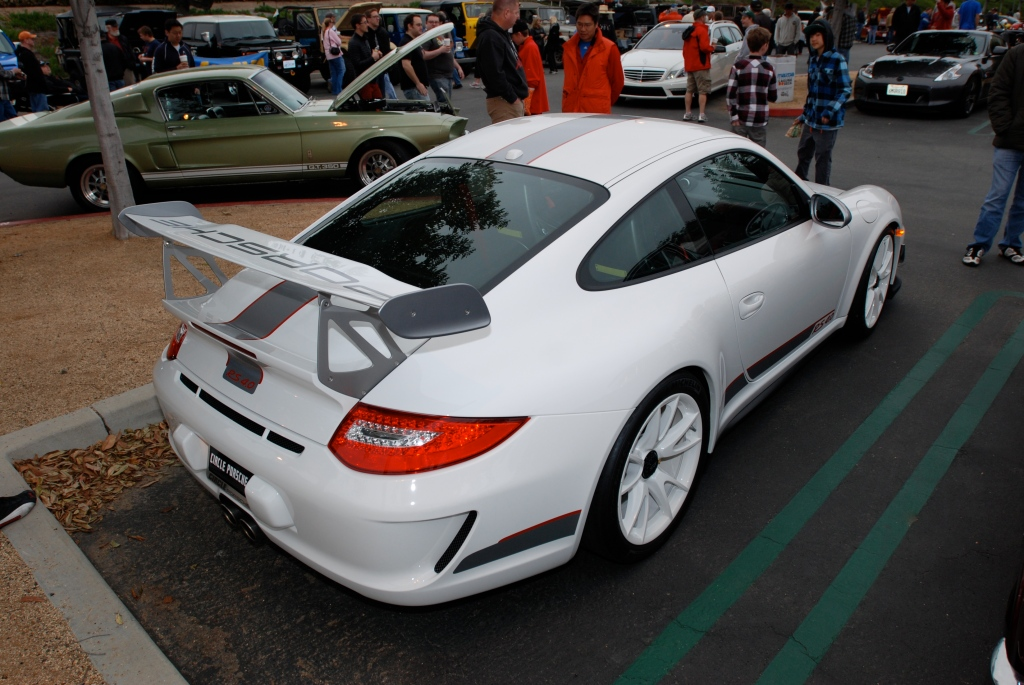 2011 white Porsche GT3 RS4.0_series # 490_3/4 rear view_Cars&Coffee/Irvine_3/31/12