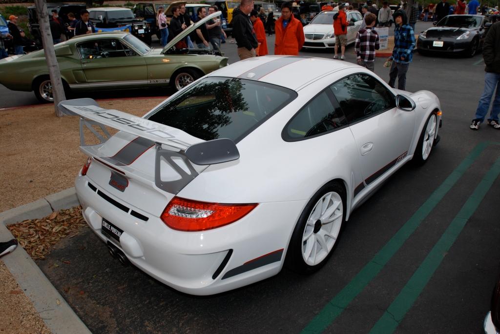 2011 white Porsche GT3 RS4.0_series # 490_3/4 rear view_Cars&Coffee/Irvine_3/31/12