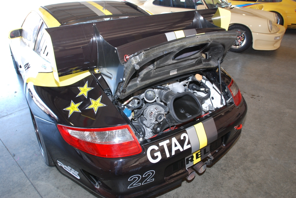 Porsche GT3 Cup car_Truspeed_rear view of motor_Festival of Speed_Auto Club Speedway_April 21, 2012