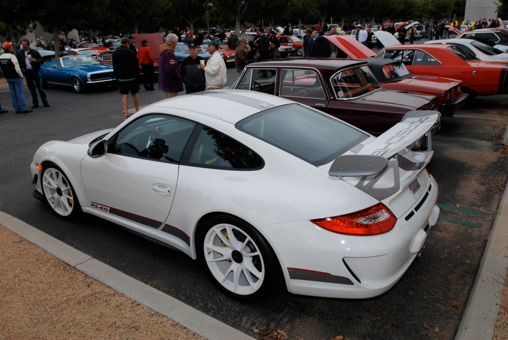 2011 white Porsche GT3 RS4.0_series # 490_side view_Cars&Coffee/Irvine_3/31/12