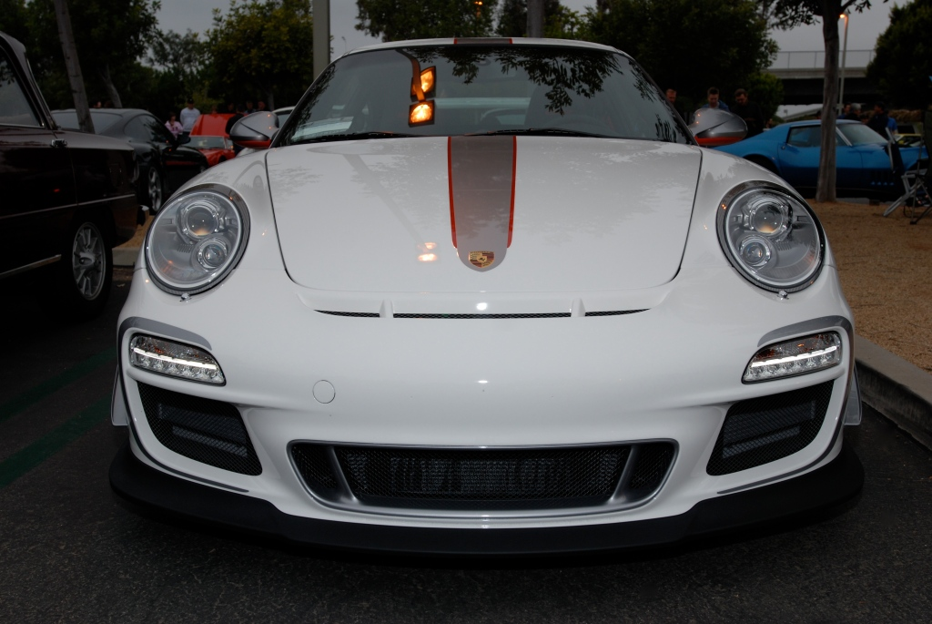 2011 white Porsche GT3 RS4.0_series # 490_front view_Cars&Coffee/Irvine_3/31/12