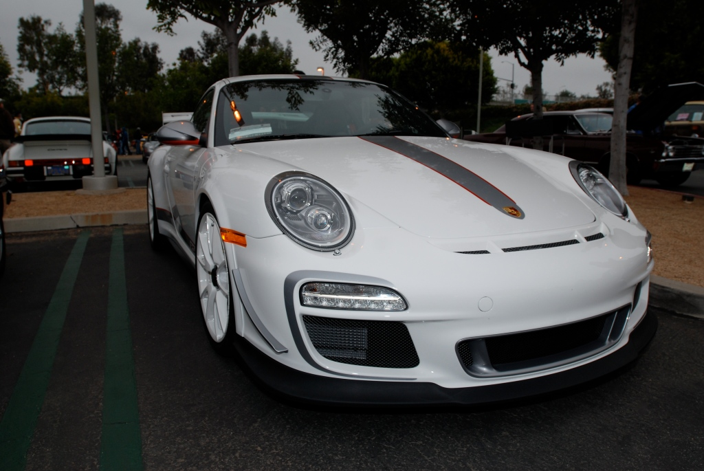 2011 white Porsche GT3 RS4.0_series # 490_3/4 front view_Cars&Coffee/Irvine_3/31/12