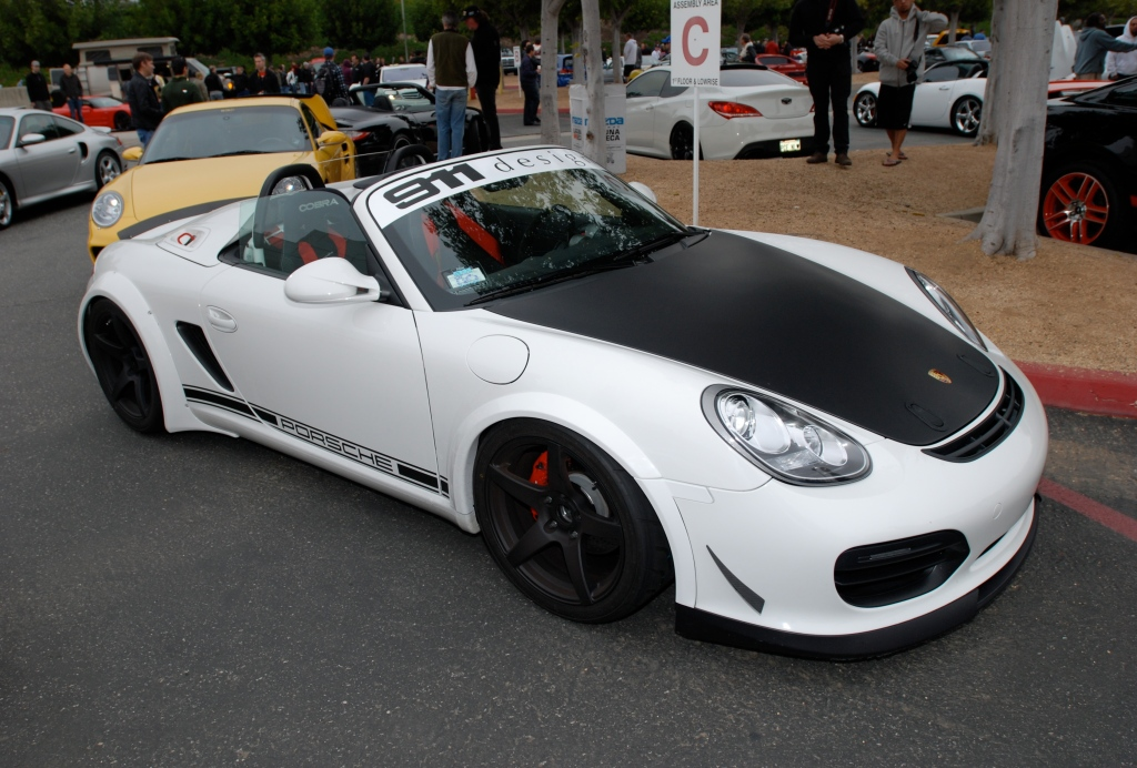 2011 white Porsche Boxster spyder_w/ fender flares_3/4 front view_Cars&Coffee/Irvine_3/31/12