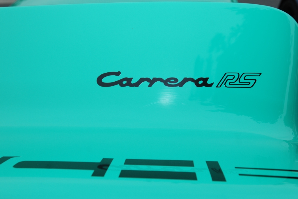1973 green Porsche 911 Carrera RS #280_ducktail graphics_Cars&Coffee/Irvine_3/31/12