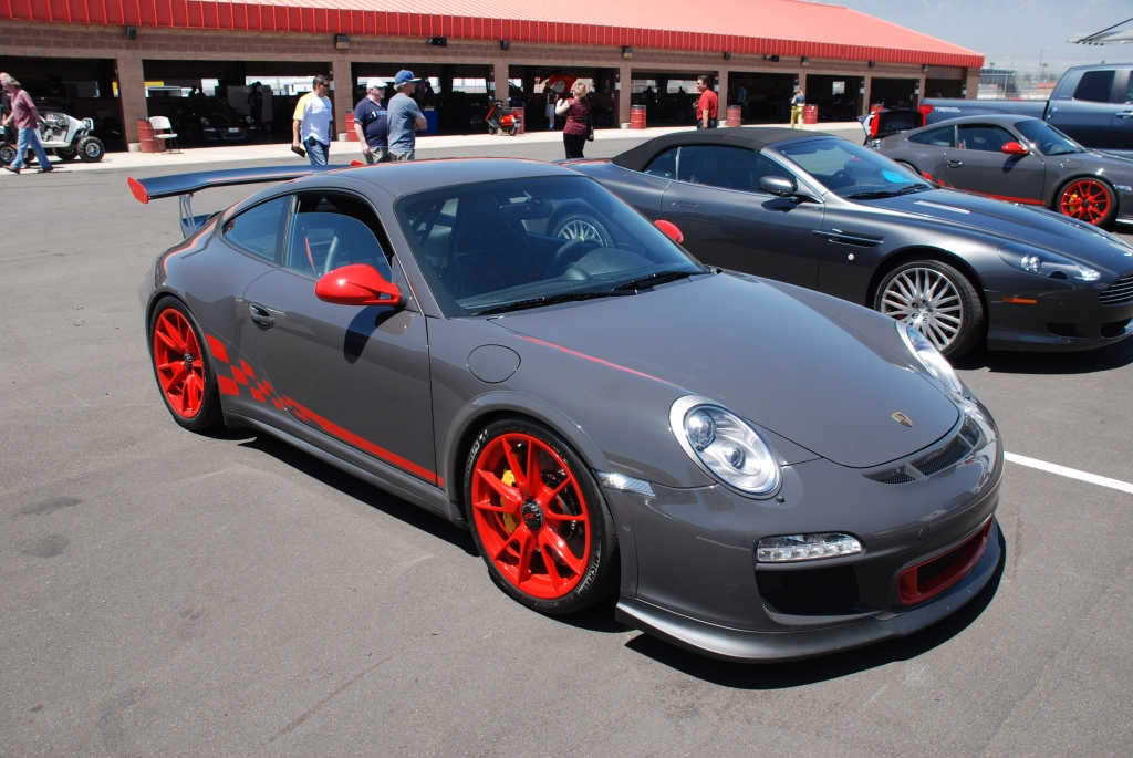 2011 Gray and red Porsche GT3RS_3/4 front view_Festival of Speed_Auto Club Speedway_April 21, 2012