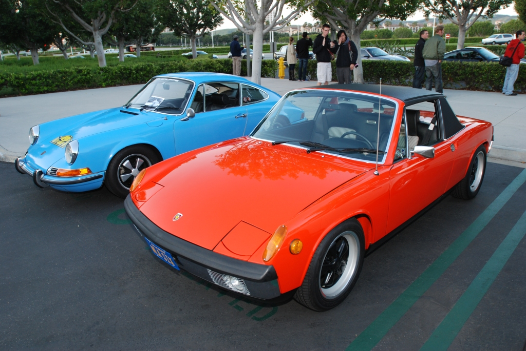 Blue Porsche 911T & Orange 914-6_F.A. Porsche Tribute_Cars&Coffee/Irvine_4/7/12