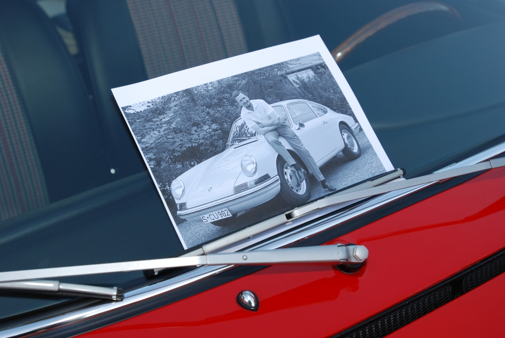 "Red 1966 Porsche 911 __with displayed ""F.A. ""Butzi""Porsche & the 911"" press photo_F.A. Porsche Tribute_Cars&Coffee/Irvine_4/7/12"