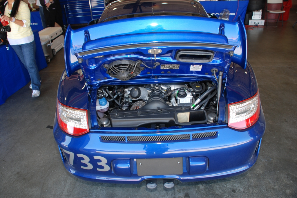 Blue 2011 Porsche GT3_motor_Festival of Speed_Auto Club Speedway_April 21, 2012
