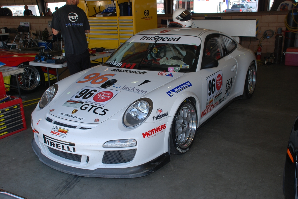 White 2012 Porsche GT3 Cup car #96_3/4 front view_Festival of Speed_Auto Club Speedway_April 21, 2012