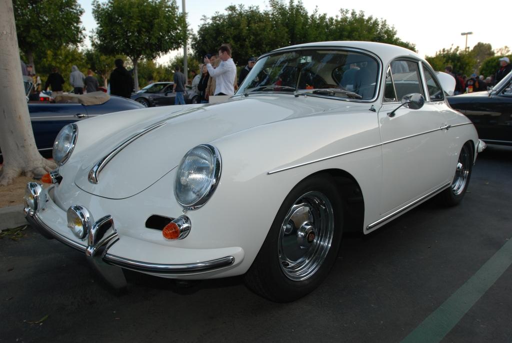 White 1962 Porsche 356 Carrera 2_3/4 front view_F.A. Porsche Tribute_Cars&Coffee/Irvine_4/7/12