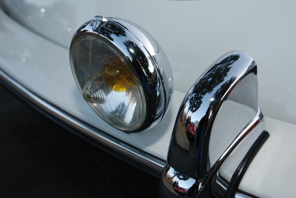 White 1962 Porsche 356 Carrera 2_driving light and chrome bumper guard_F.A. Porsche Tribute_Cars&Coffee/Irvine_4/7/12