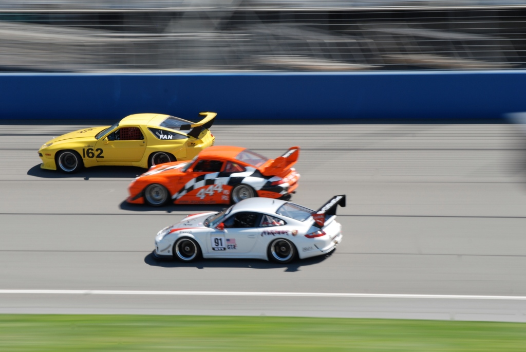 Porsches, three wide_Festival of Speed_Auto Club Speedway_April 21, 2012