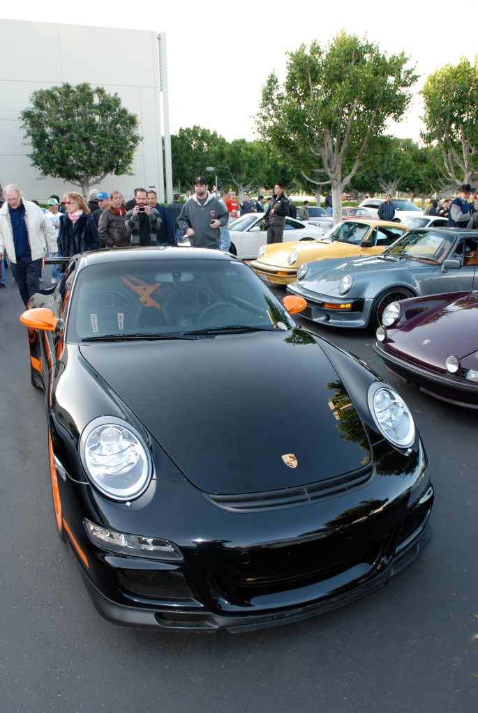 Black & orange Porsche GT3RS_Dan Gurney & wife in background on left_F.A. Porsche Tribute_Cars&Coffee/Irvine_4/7/12