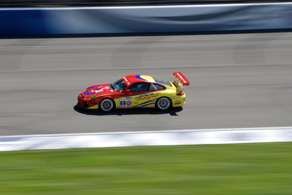 2012 Red & yellow Porsche GT3 Cup car_Festival of Speed_Auto Club Speedway_April 21, 2012