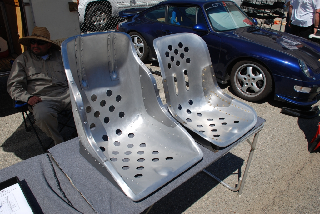 Hand formed aluminum seat shells_911 scheel seat shell & 550 spyder shell_Festival of Speed_Auto Club Raceway_April 21. 2012