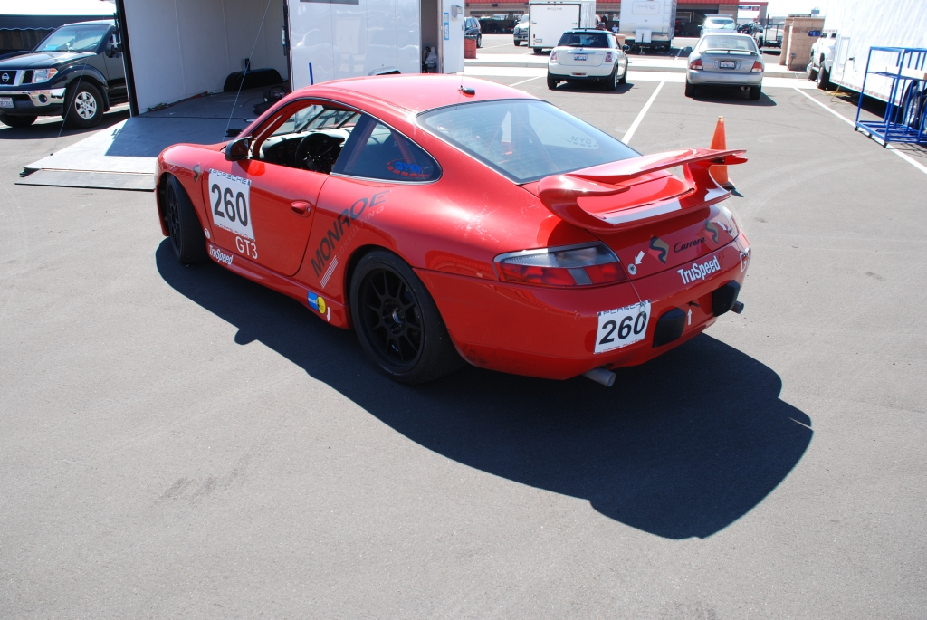 Red 1999 Porsche GT3 Koni Challenge Cup car_3/4 rear view_Festival of Speed_Auto Club Raceway_April 21, 2012