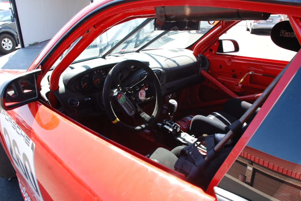 Red 1999 Porsche GT3 Koni Challenge Cup car_interior view_Festival of Speed_Auto Club Raceway_April 21, 2012