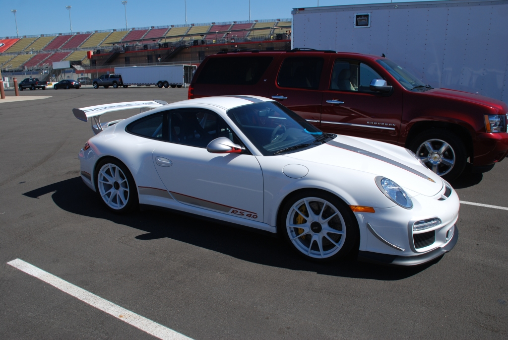 White 2012 Porsche GT3 RS4.0_3/4 front view_Festival of Speed_Auto Club Raceway_April 21, 2012