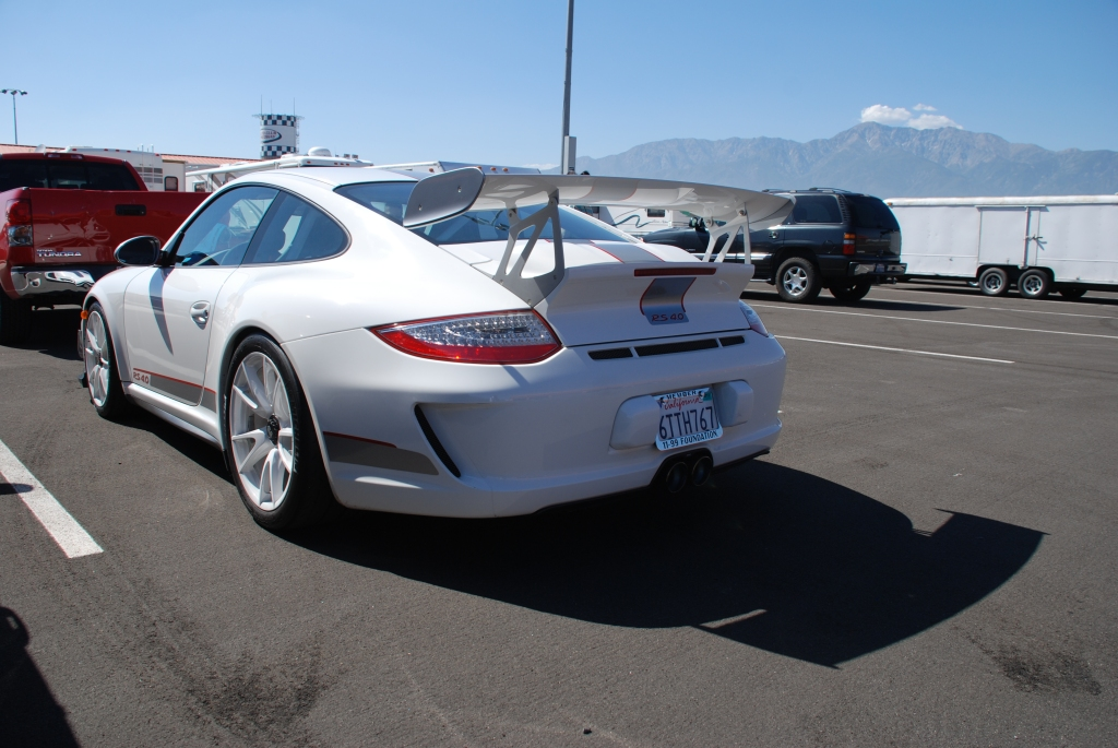 White 2012 Porsche GT3 RS4.0_3/4 rear view_Festival of Speed_Auto Club Raceway_April 21, 2012