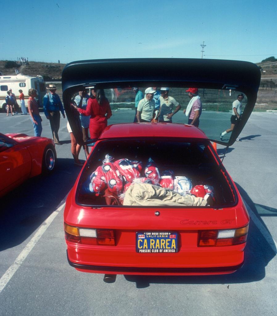 Red Porsche 924 Carrera GT_rear view&TFA toys_Monterey Historics _Laguna Seca_Aug 82