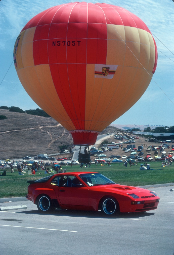 Red Porsche 924 Carrera GTS Club Sport_3/4 front view w/ balloon_Monterey Historics _Laguna Seca_Aug 82