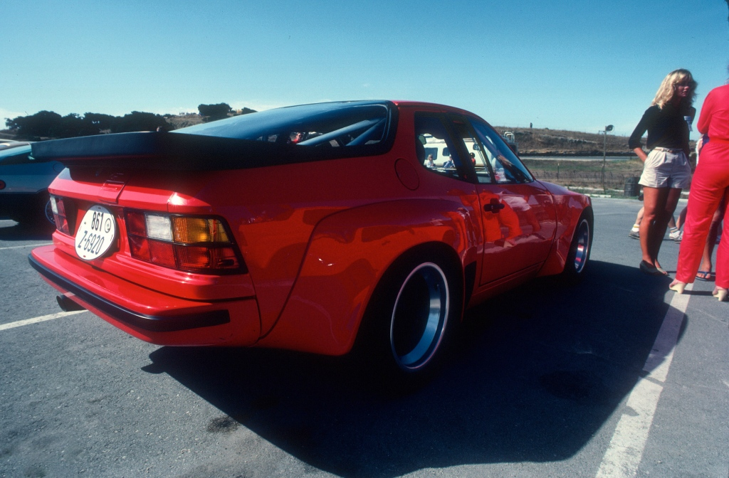 Red Porsche 924 Carrera GTS Club Sport_3/4 rear view_Monterey Historics _Laguna Seca_Aug 82