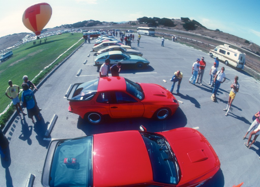 Red Porsche 924 Carrera GT & GTS Club Sport_aerial view_Monterey Historics _Laguna Seca_Aug 82
