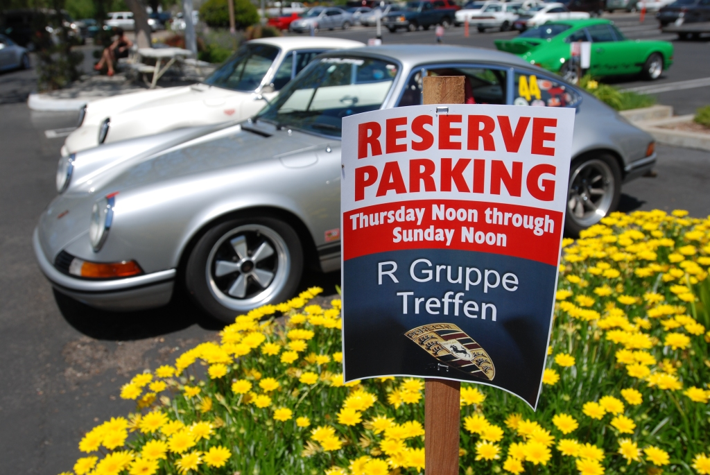 Silver Porsche 911 w/flowerbed and reserved parking sign_RGruppe Solvang Treffen _May 5, 2012