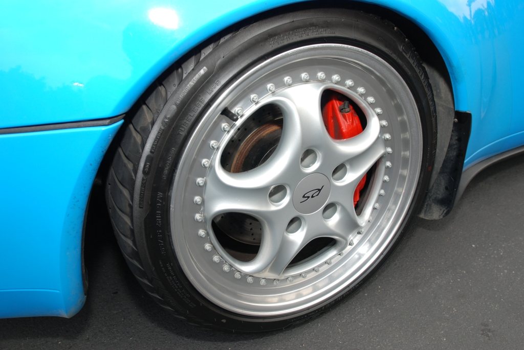 Mexico blue 1996 Porsche 993 Carrera RS Club Sport_Speedline rear wheel detail _Cars&Coffee_May 12, 2012