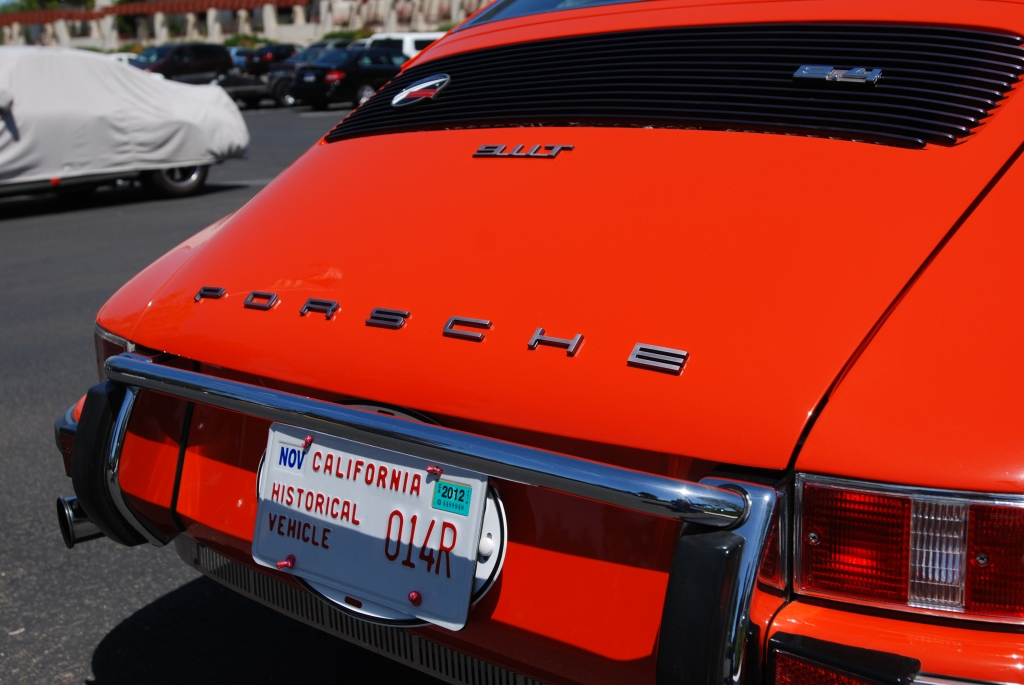 Orange 1972 Porsche 911T_rear deck view_RGruppe Solvang Treffen _May 5, 2012