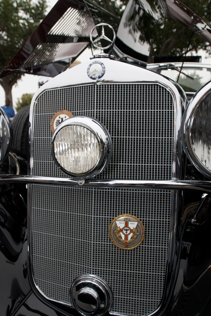 Vintage Mercedes Benz cabriolet_grill and badge detail_Cars&Coffee_5/28/12