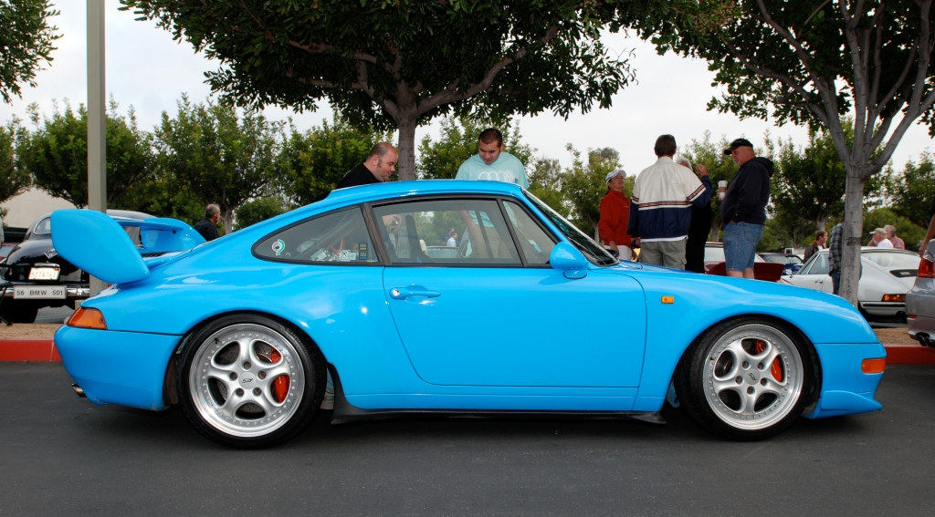 Mexico blue 1996 Porsche 993 Carrera RS Club Sport_full side view _Cars&Coffee_May 12, 2012