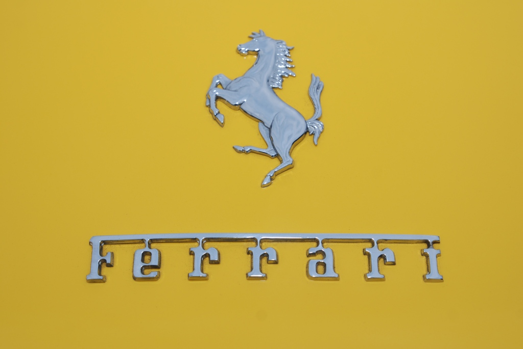 Yellow Ferrari_rear trunk badge detail_Cars&Coffee_5/28/12